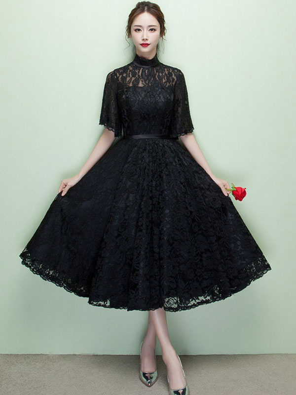 f40d2aaa0e Black Cocktail Dress Lace High Collar Short Prom Dress Illusion Half Sleeve  A Line Party Dress ...
