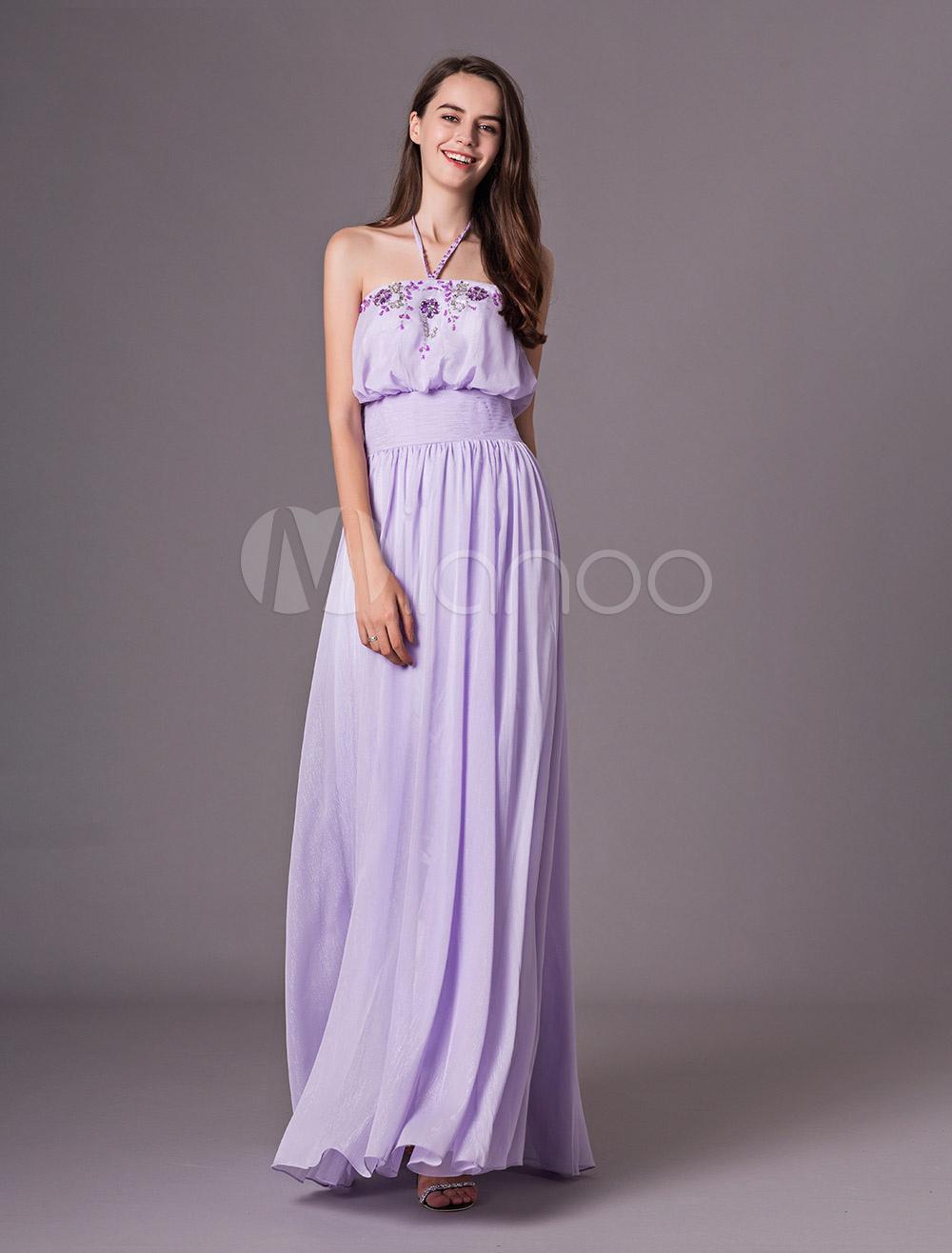 4518c3240b2a3 Lilac Prom Dresses Long Halter Bridesmaid Dress Rhinestones Chiffon  Backless Pleated Party Dress Milanoo-No ...