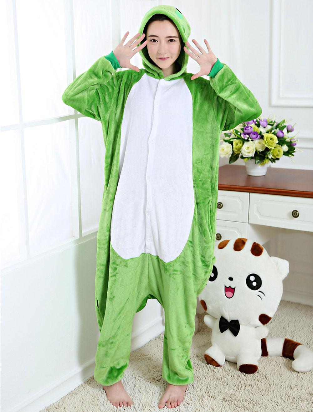 8135c8a9ac60 Kigurumi Pajama Frog Onesie Green Flannel Animal Sleepwear For Adult Back  With Zipper Halloween-No ...