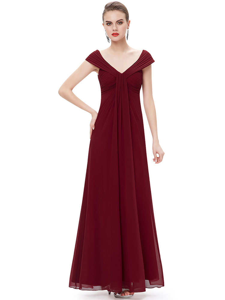 Buy Chiffon Mother Of The Bride Dress Burgundy Wedding Guest Dresses V Neck Pleated A Line Floor Length Evening Dress for $114.39 in Milanoo store