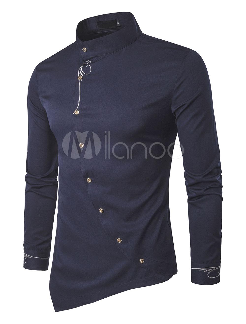 2019 Camiseta Azul Marino Oscuro Hombre Larga Cuello Manga Levantado Irregular Entallada Casual De l1JcT3FK