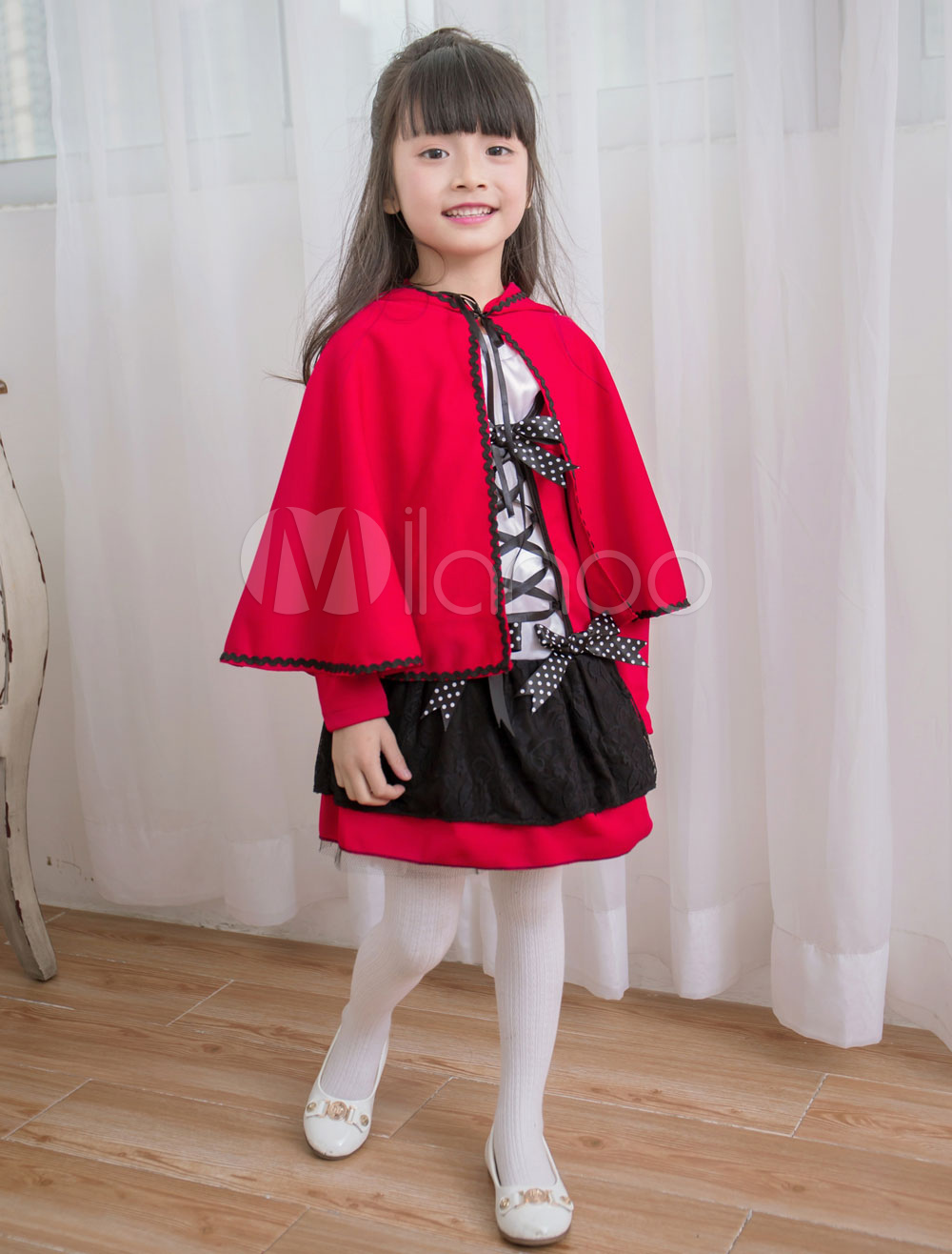 Buy Red Riding Hood Costume Kids' Cartoon Cosplay Dress With Cloak For Girl Halloween for $21.99 in Milanoo store