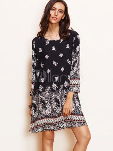Buy Shift Black Dress Long Sleeve Boho Floral Printed Summer Beach Short Dresses for $29.99 in Milanoo store