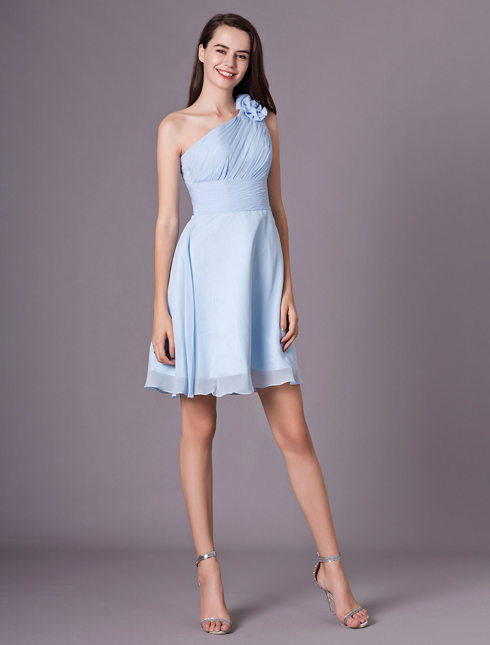 1b43491ed ... Chiffon Bridesmaid Dress Baby blue One Shoulder Knee Length Flowers  Prom Dress-No.5 ...