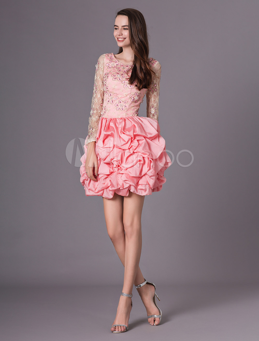 Buy Pink Beading Jewel Neck Long Sleeves A-line Chiffon Prom Dress Milanoo for $153.99 in Milanoo store