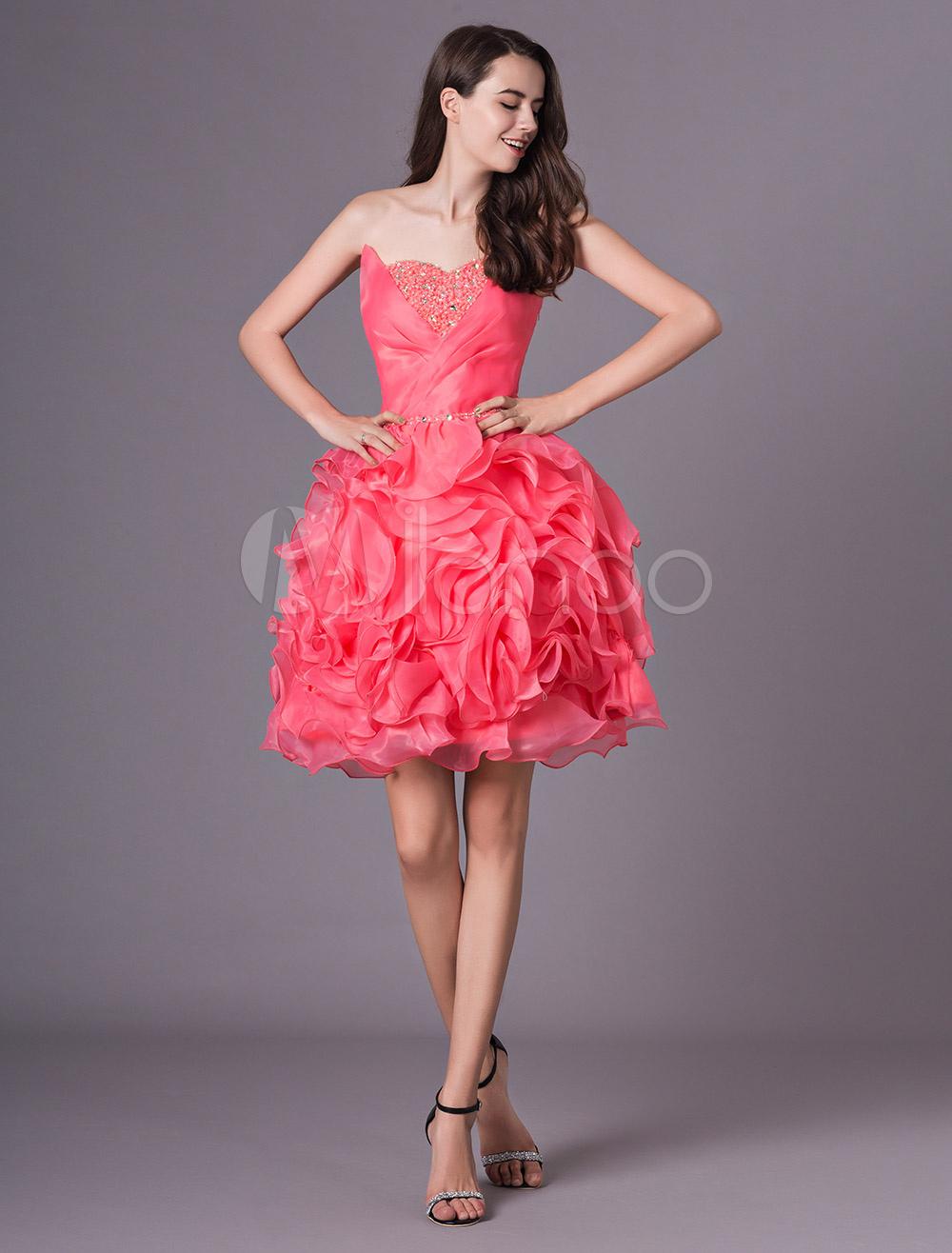 5f97ae76d3 ... vestidos de gala de organza Rojo coral con escote en corazón sin mangas  con cuentas estilo. 12. -45%. color Rojo coral
