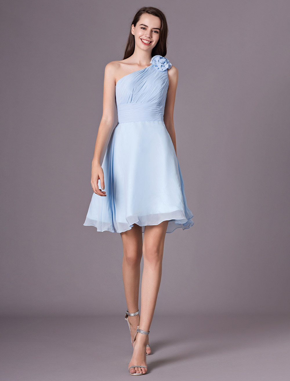 9d2b9ad9f960 Chiffon Bridesmaid Dress Baby blue One Shoulder Knee Length Flowers Prom  Dress-No.1 ...
