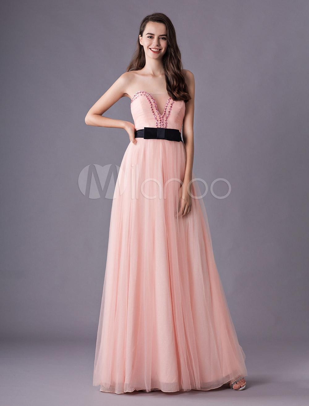 Vestido de fiesta de chifón estampado de color rosado sin mangas ...