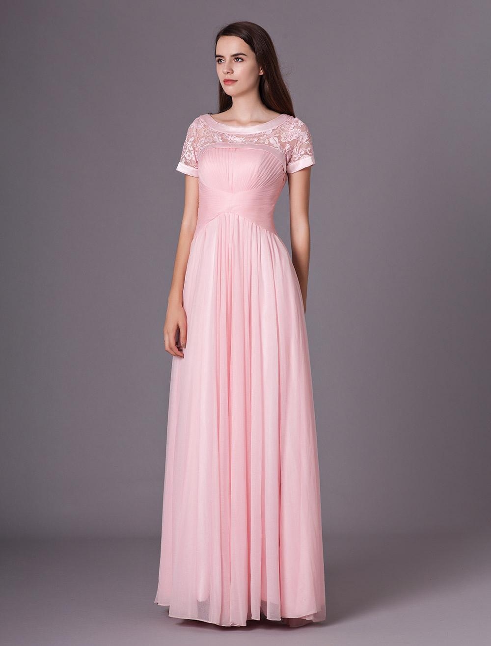 Vestido de damas de honor de seda brillante de color rosado con ...