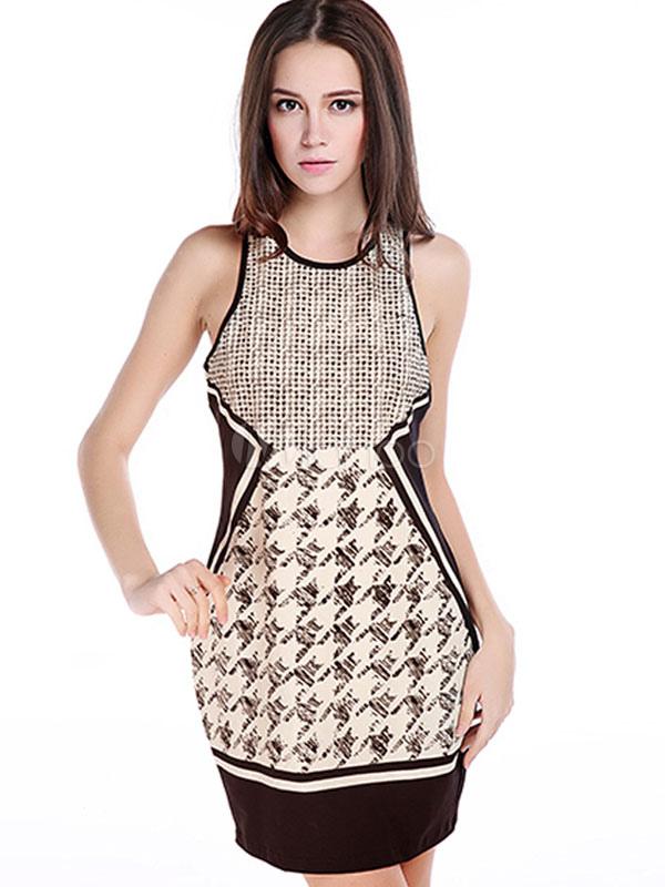 Buy Houndstooth Print Sleeveless Slim Bodycon Dress for $20.39 in Milanoo store