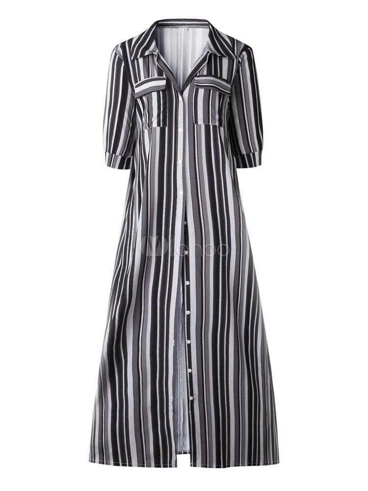 3e968c60df8 ... Robe Chemise 2019 Bande Arc en Ciel Boutons Robe Longue Coloré Demi  Manches à Poche Robe ...