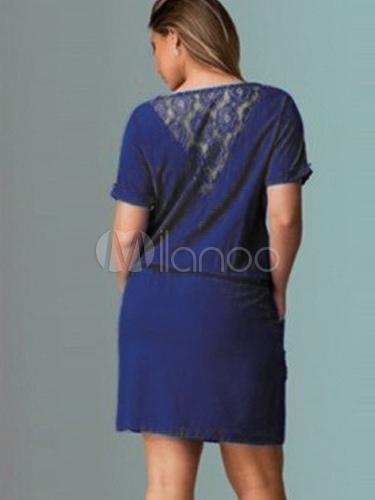 8c95200dc5 ... Tunic Dresses Plus Size Womens Dresses Lace Short Sleeve Round Neck  Drawstring Dark Navy Summer Dresses