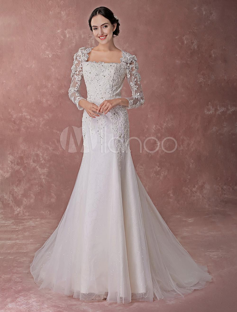 Sheath Straight Neck Line Lace Wedding Dresses