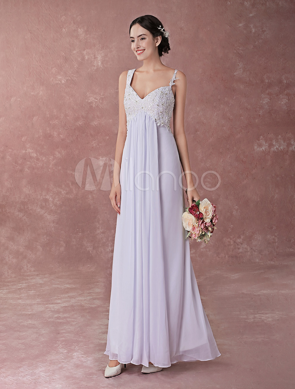 2d6ebaaeb366 ... Spaghetti Straps Empire Waist Floor Length Bridal Dress-. 12. 45%OFF.  Color:Ivory