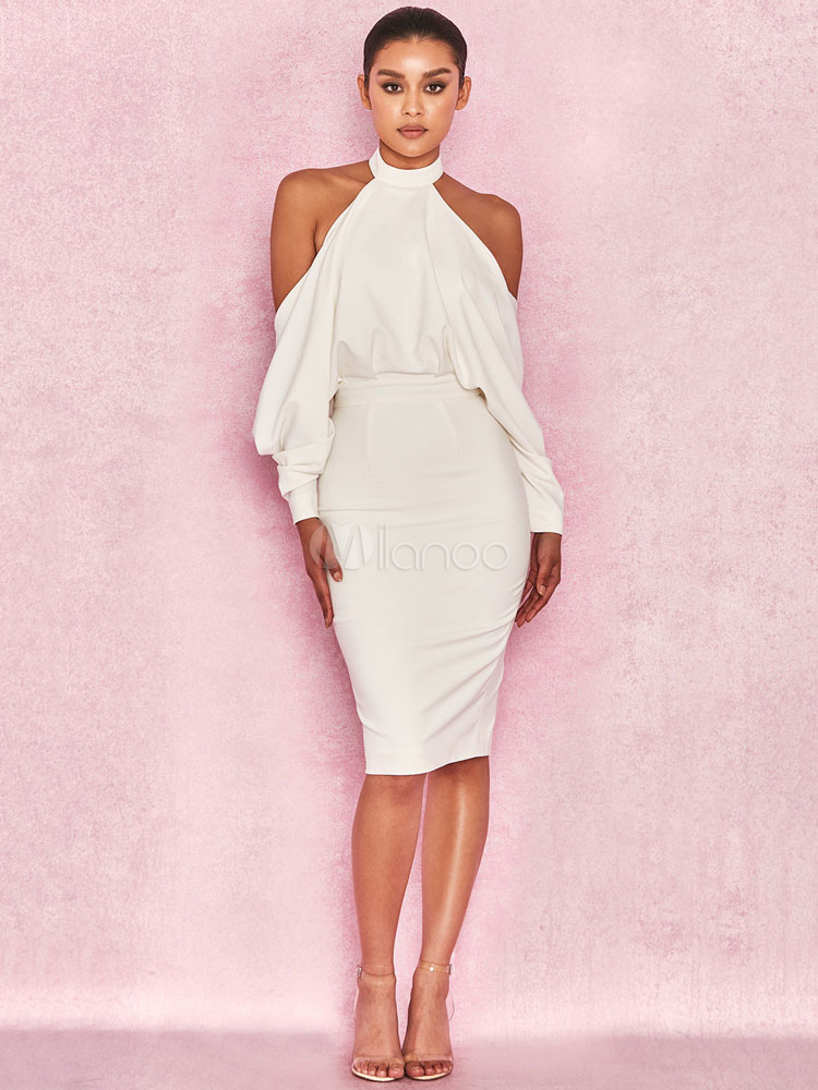 e87f4481a6a6 Sexy Party Dress White Backless Halter Cocktail Dress Open Shoulder Long  Sleeve Bodycon Dress-No ...