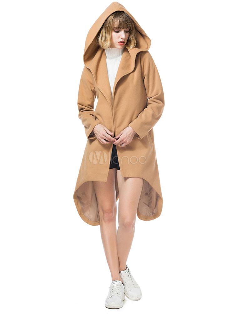 Cappotto cammello invernale da donna con collo a manica lunga con collo  lungo e maniche lunghe ... 2cc39574af00