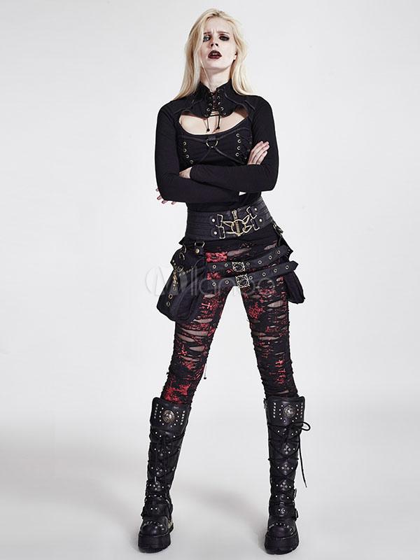 13bf7beb25 Disfraz de Halloween Steampunk Pantalones de mujer retro rojo Gothic Ripped  Leggings-No.1 ...