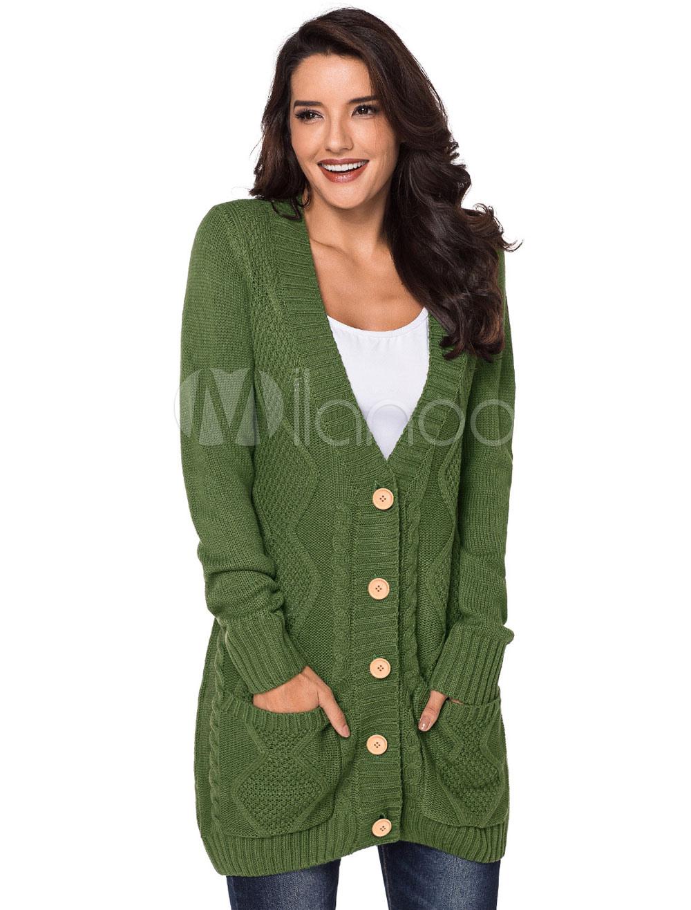 6df36f6514 ... Suéter Cardigan Mujer bolsillos de botones de manga larga gris prendas  de vestir exteriores-No ...