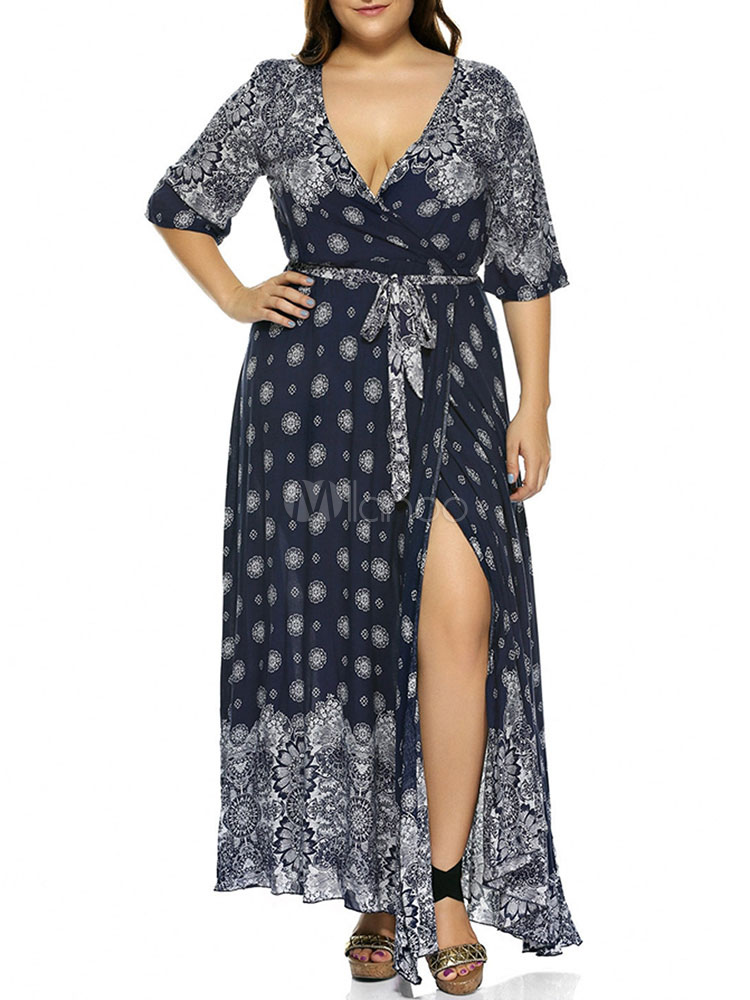 Plus Size Boho Maxi Dress Women Split Half Sleeve Cotton Oversized Wrap  Dress