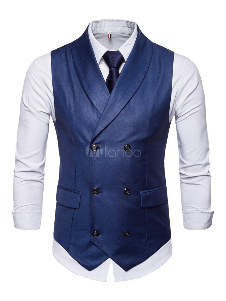 Men Waist Coat Shawl Lapel Double Breasted Tuxedo Plus