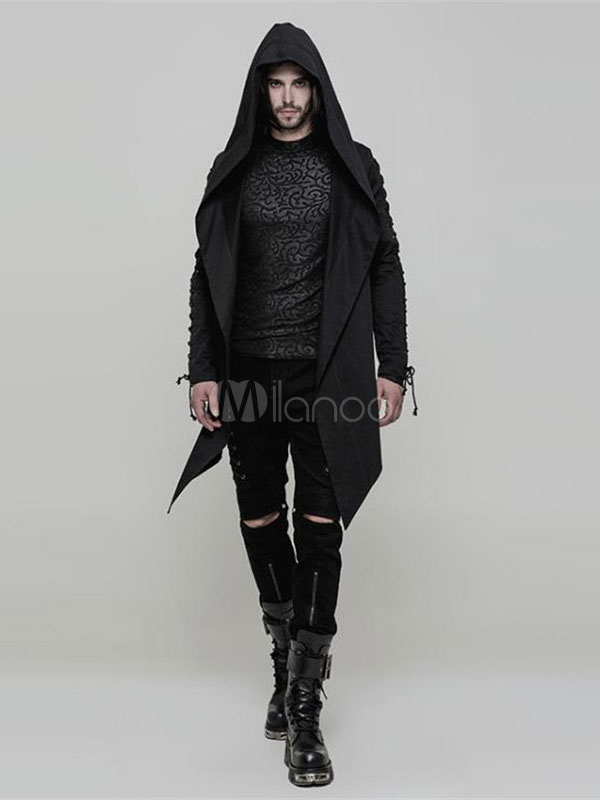 1e10d358bd2 Steampunk Costume Halloween Black Long Sleeve Men Gothic Skull Lace Up  Jacket Coat-No.