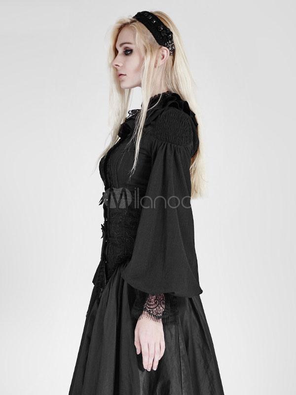 wholesale dealer d7e86 ba68b Camicie Steampunk Donna Gonna a pieghe in chiffon nero con maniche lunghe a  righe