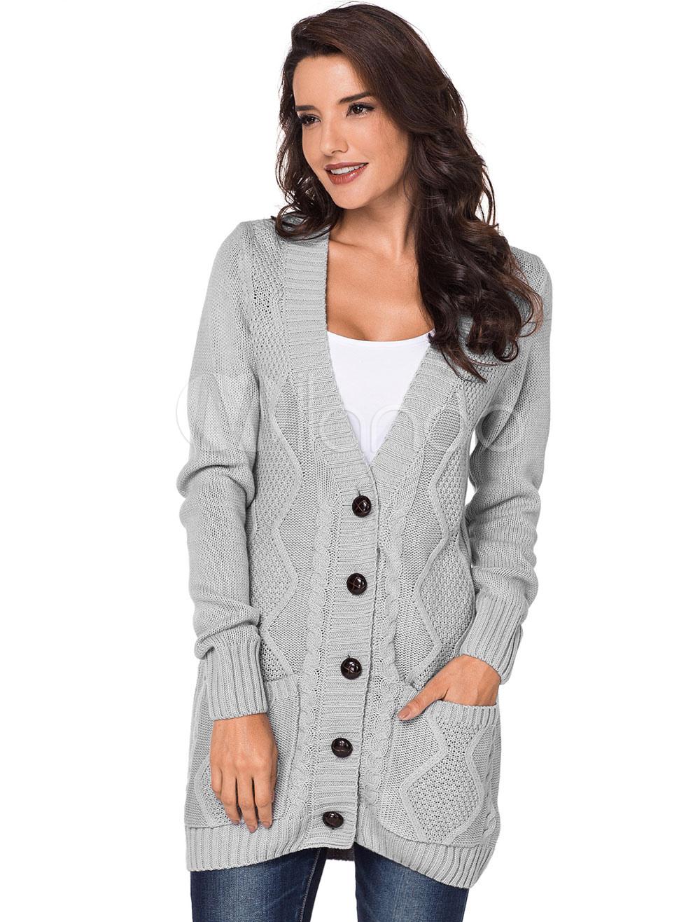 4b644984de Suéter Cardigan Mujer bolsillos de botones de manga larga gris prendas de vestir  exteriores-No ...