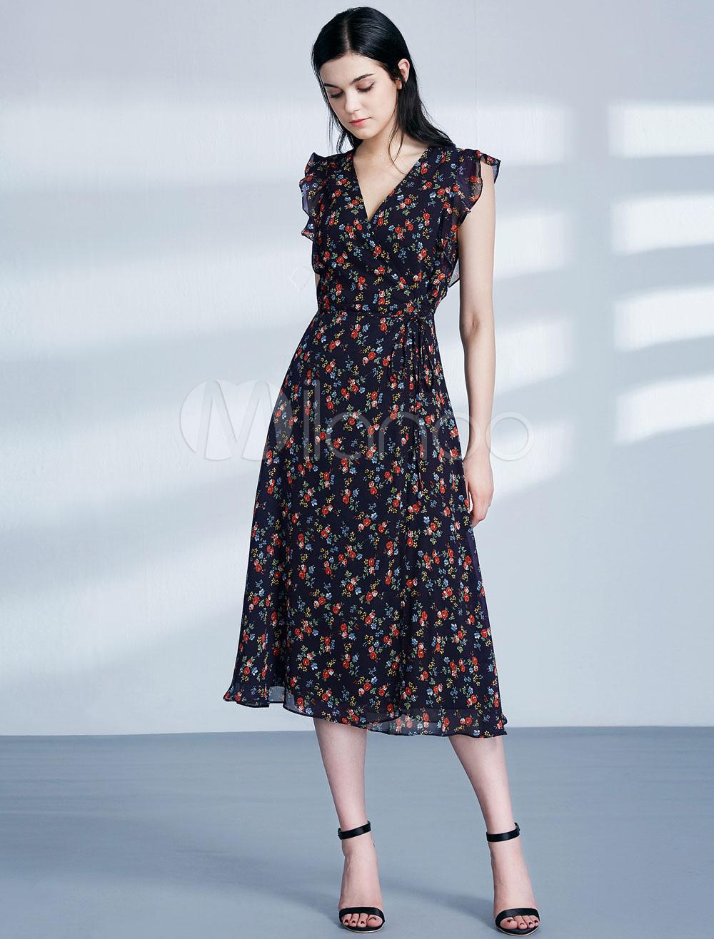 Black Party Dress Floral Print V Neck Tea Length Wedding Guest Dress