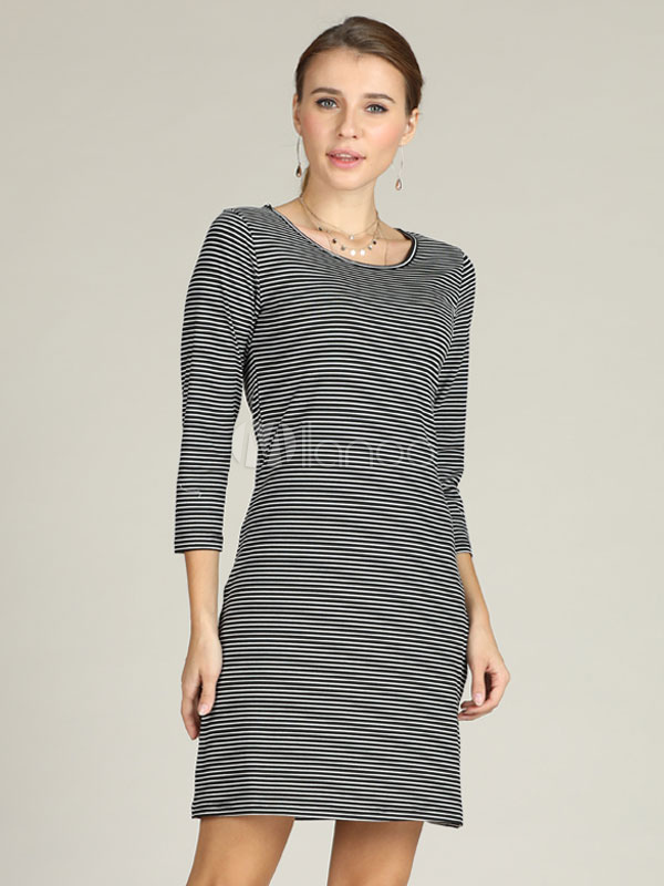 Buy Striped T Shirt Dress Round Neck Midi Dress for $19.99 in Milanoo store