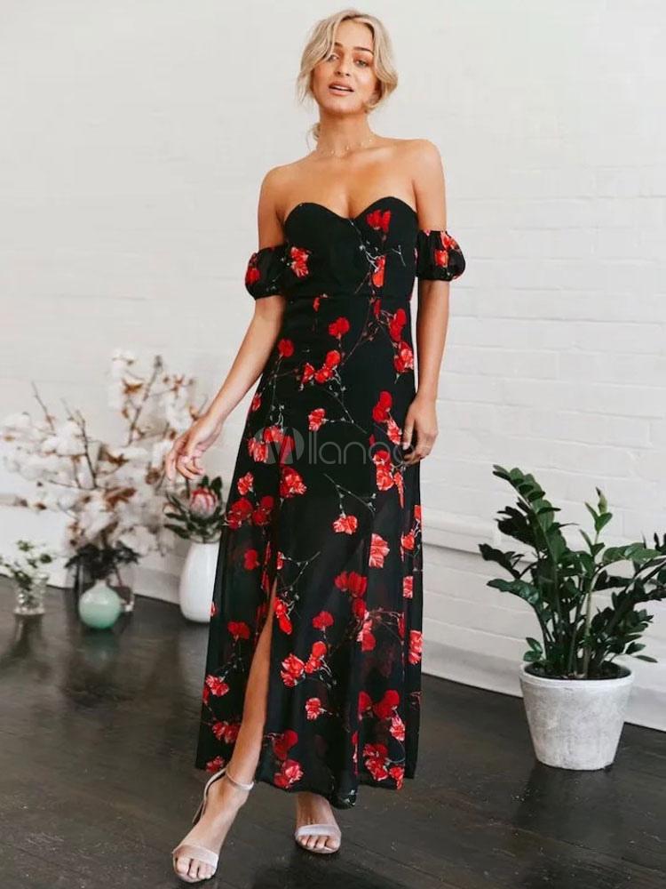 450d13cde3c Black Long Dress Boho Chiffon Off The Shoulder Floral Print Backless Summer  Dress-No.