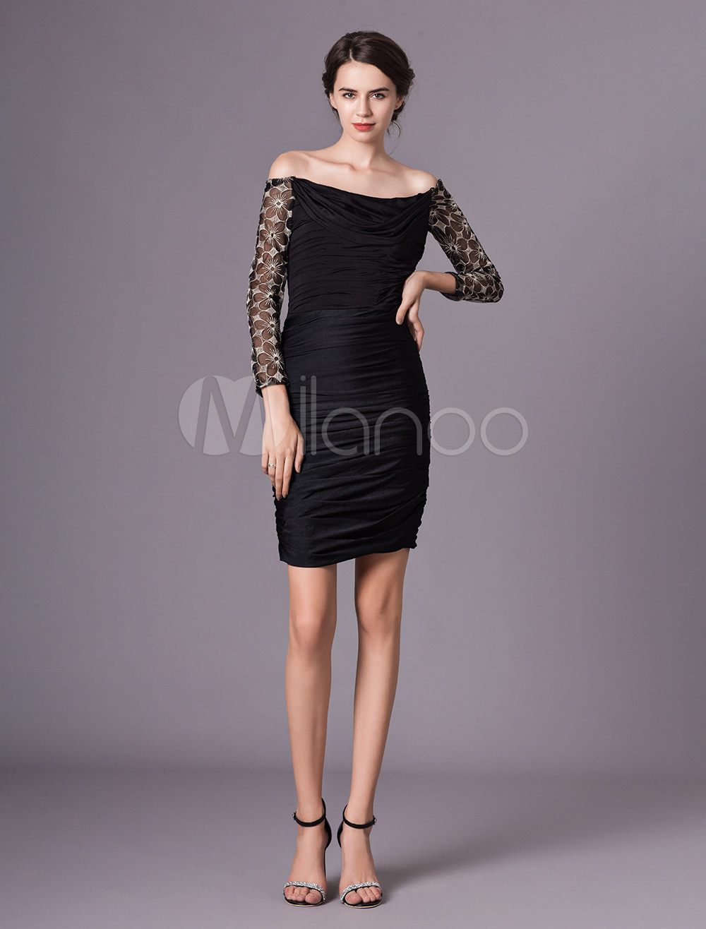 2135aae0031 Black Sheath Scoop Neck Lace Mother of the Bride Dress with 3 4 ...