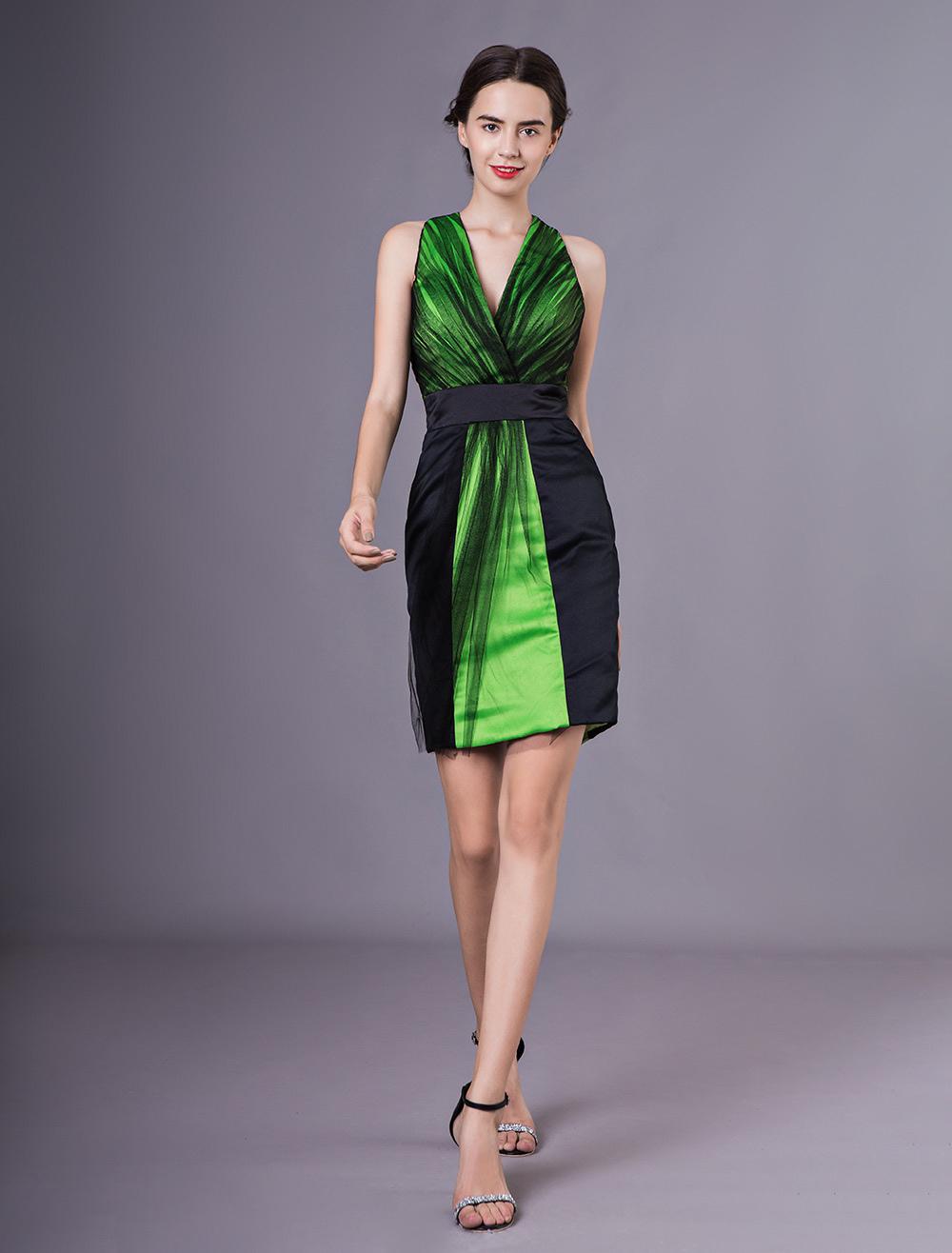 628cda5530a63 Gorgeous Black Sheath V-Neck Pleated Sleeveless Tulle Cocktail Dress  Wedding Guest Dress Milanoo