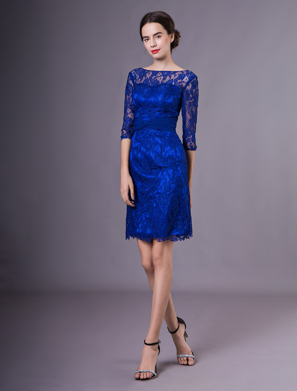 Buy Charming Royal Blue Crewneck Twisted Lace Dress For Mother Of Bride Wedding Guest Dress for $128.69 in Milanoo store