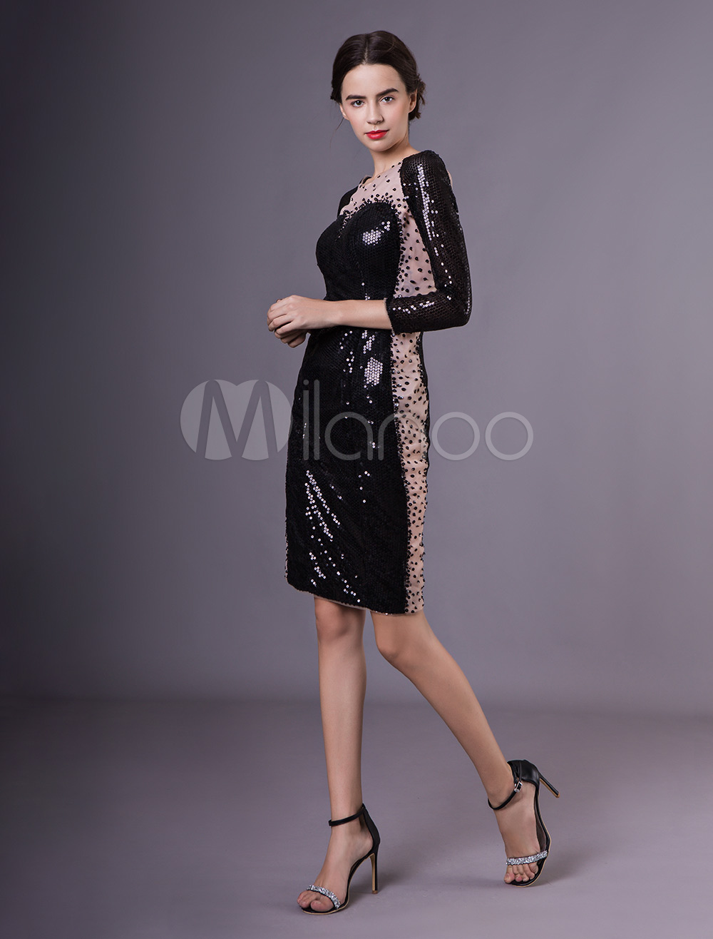Black Long Sleeves Beading Sequined Sheath Cocktail Dress with Jewel Neck  Milanoo