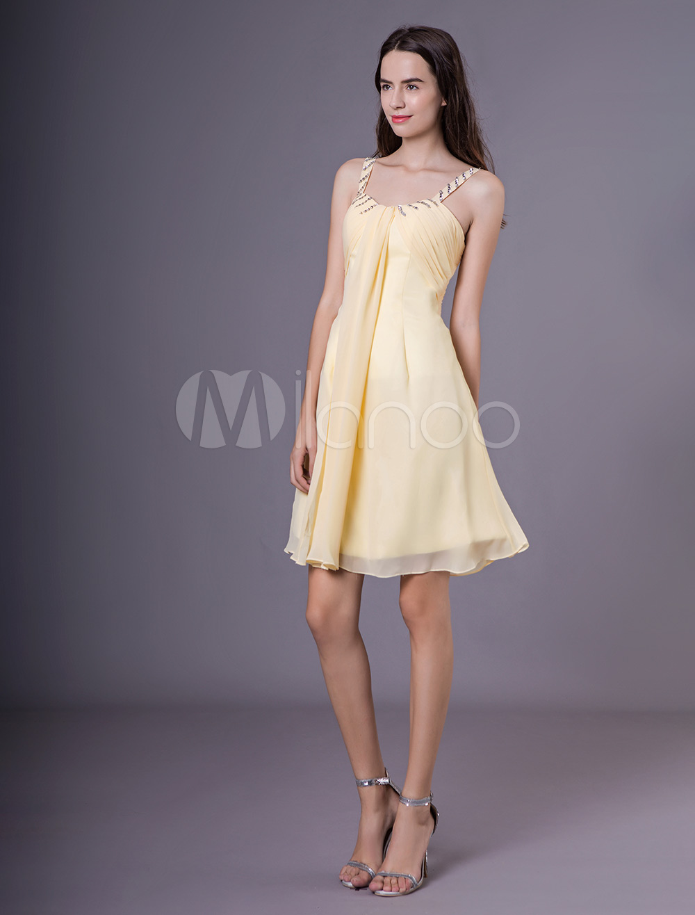 Buy Daffodil Bridesmaid Dress with CHiffon A-line Straps Neck Beading Style Milanoo for $104.39 in Milanoo store