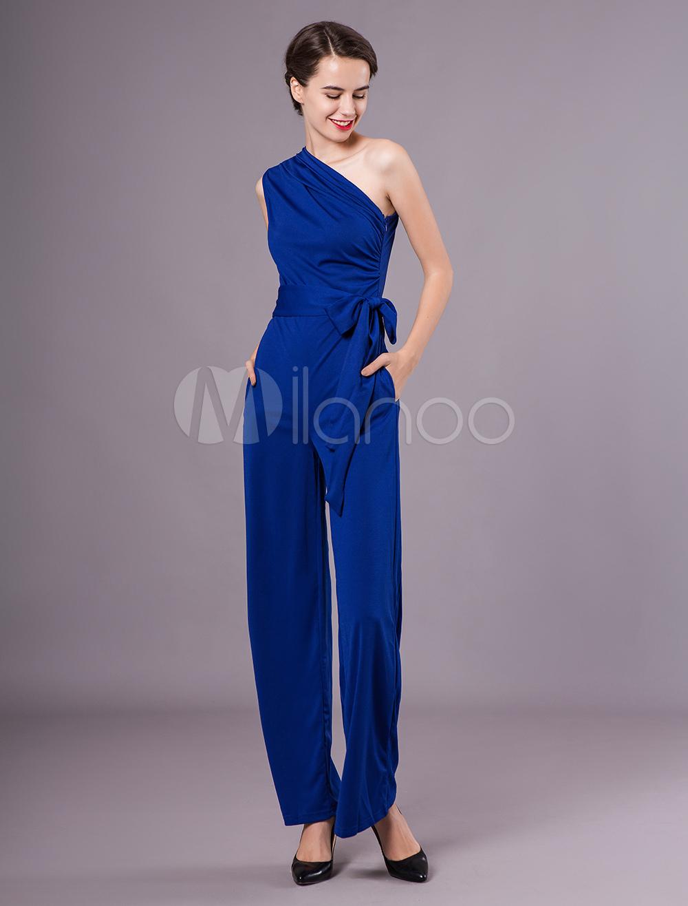 Women Sexy Jumpsuit One Shoulder Sleeveless Blue Sash Summer Jumpsuit