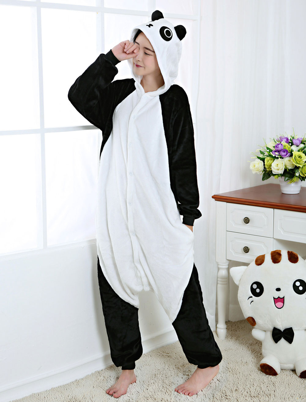 5fcb1a22 Kigurumi Pajama Panda Onesie Flannel Animal Sleepwear For Adult Back With  Zipper Halloween-No.