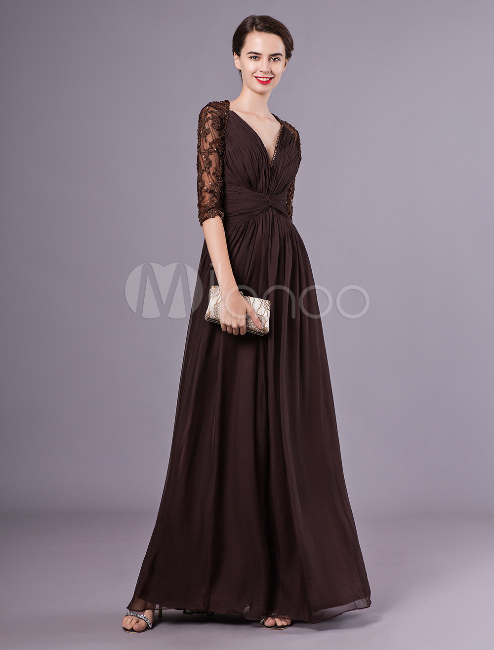 2b38350eceb6 Chocolate Dress For Mother of the Bride with A-line Skirt V-Neck ...