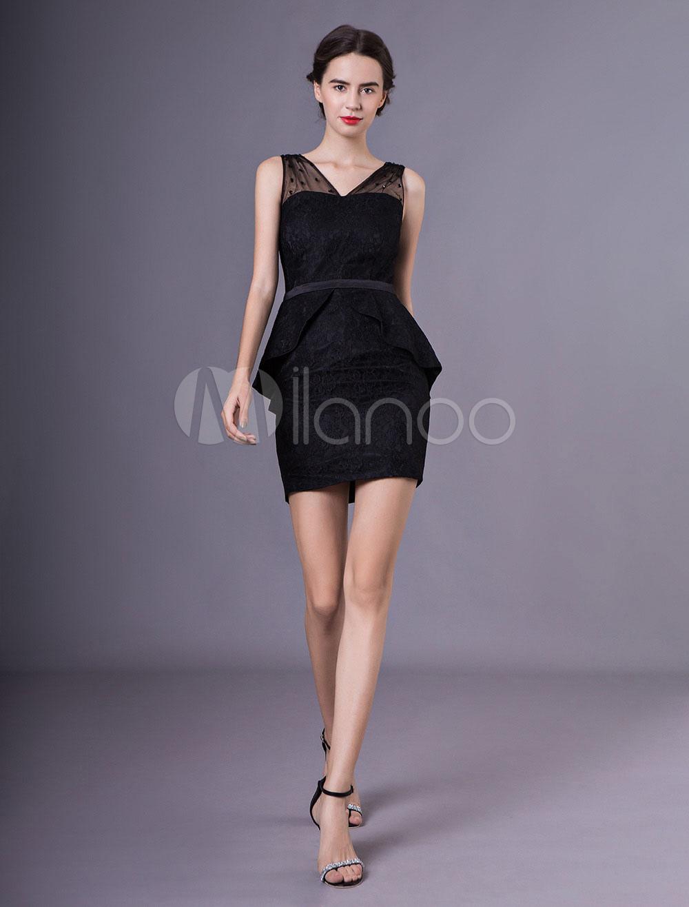 Etui brautjungfernkleid aus spitze in schwarz kleider f r - Kleider milanoo ...