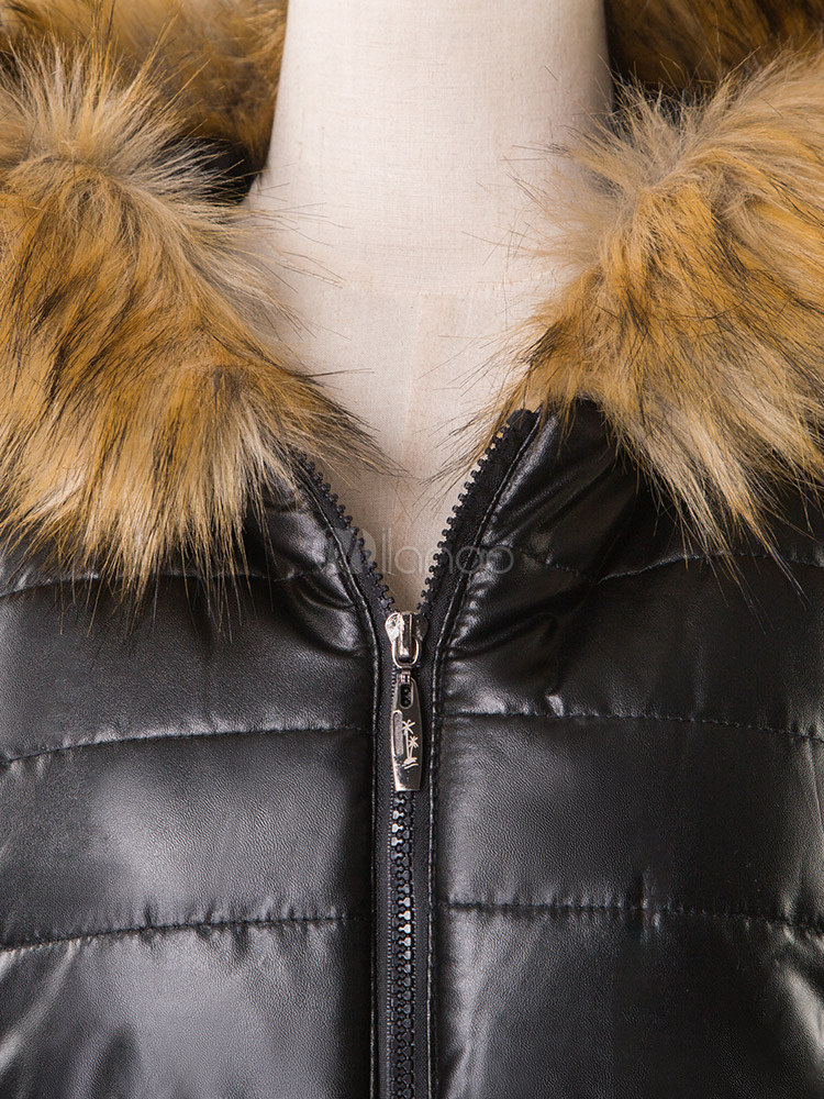 d2e933df32e ... Women Jacket Black Puffer Coat Faux Fur Hooded Long Sleeves Quilted  Jacket For Winter -No