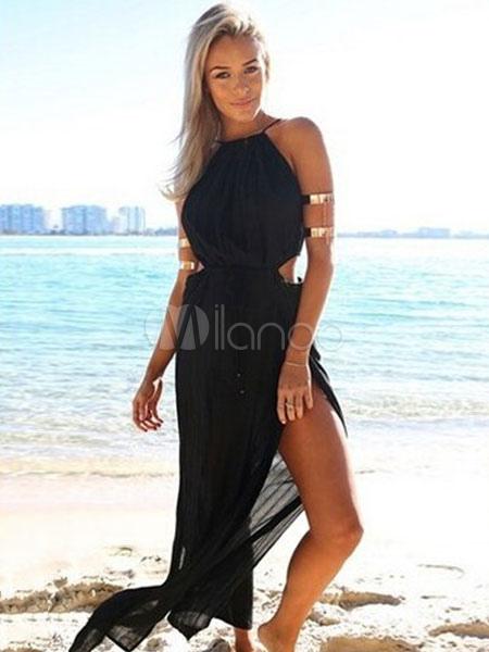 e2f784fddebf Black Maxi Dress Women Split Sleeveless Summer Dress Cut Out Waist Beach  Dresses-No.
