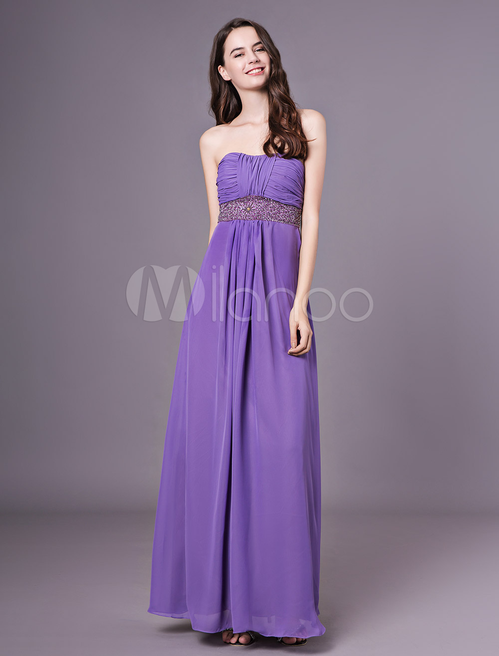 432a713290665 Lavender Strapless Empire Waist Beading Chiffon Bridesmaid Dress ...