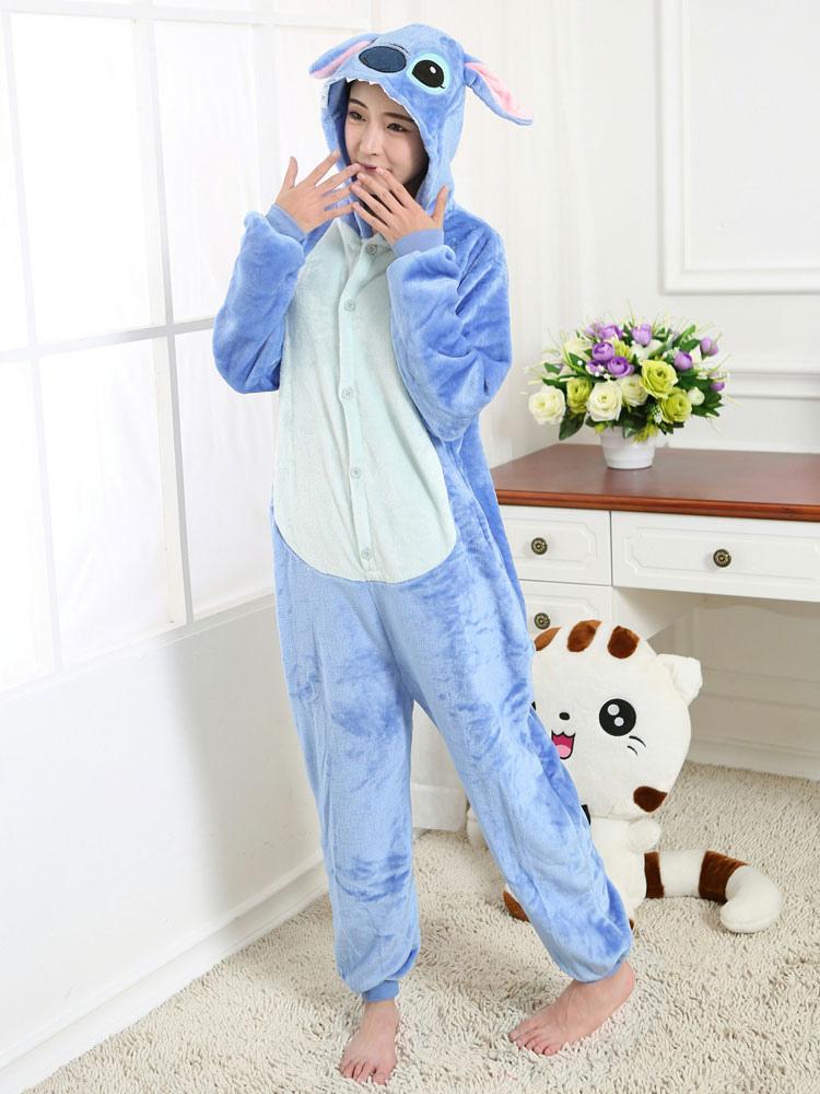 ... Kigurumi Pajama Stitch Onesie Blue Flannel Cartoon Sleepwear For Adult  With Zipper Back Halloween-No ... 6dbff9d05