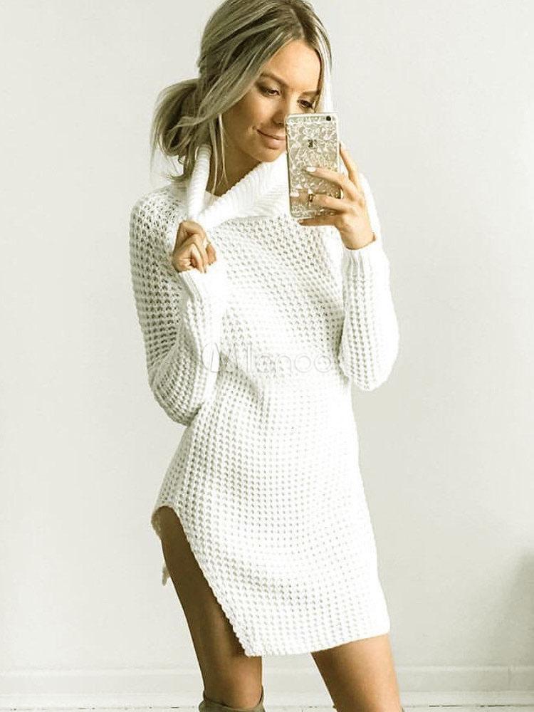 111b577da41 Robe pull femme col montant manches longues robe tricoté - Milanoo.com