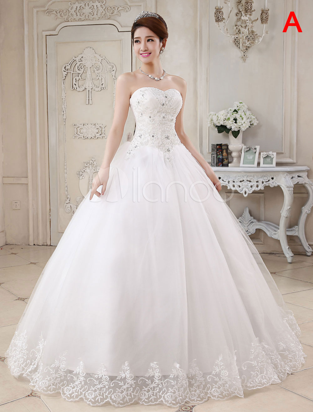 b9d8af0778f7 Princess Wedding Dresses Ivory Ball Gown Bridal Dress Strapless Sweetheart  Neck Lace Beaded Pleated Wedding Gown ...