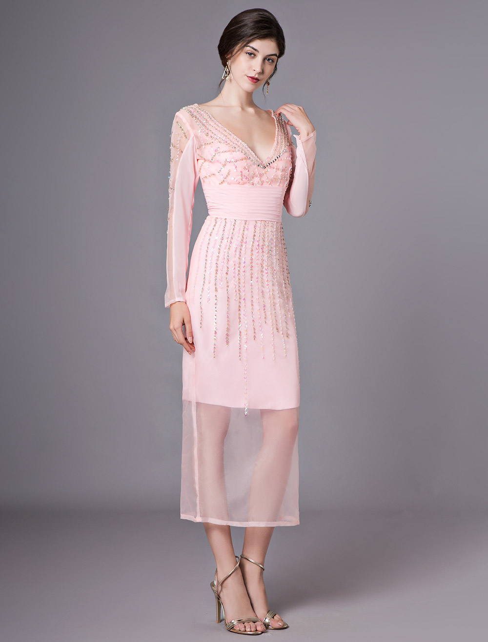 Pink Sheath V Neck Beading Long Sleeves Organza Cocktail Dress Wedding Guest Dress Milanoo