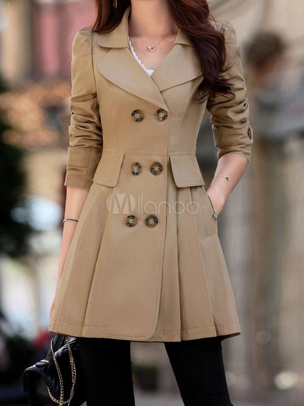 plutôt sympa vente limitée profiter du prix de liquidation Manteau femme 2019 vêtement femme fashion kaki manches longues coton  manteau pour femmes