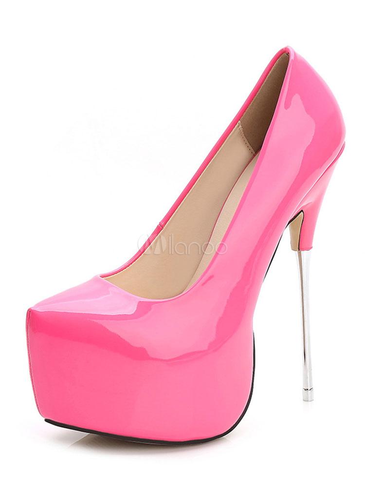 f872387d059d78 Frauen High Heels Spitz Rosa Pumps Plattform Heels Slip On Frauen  Schuhe-No.1 ...