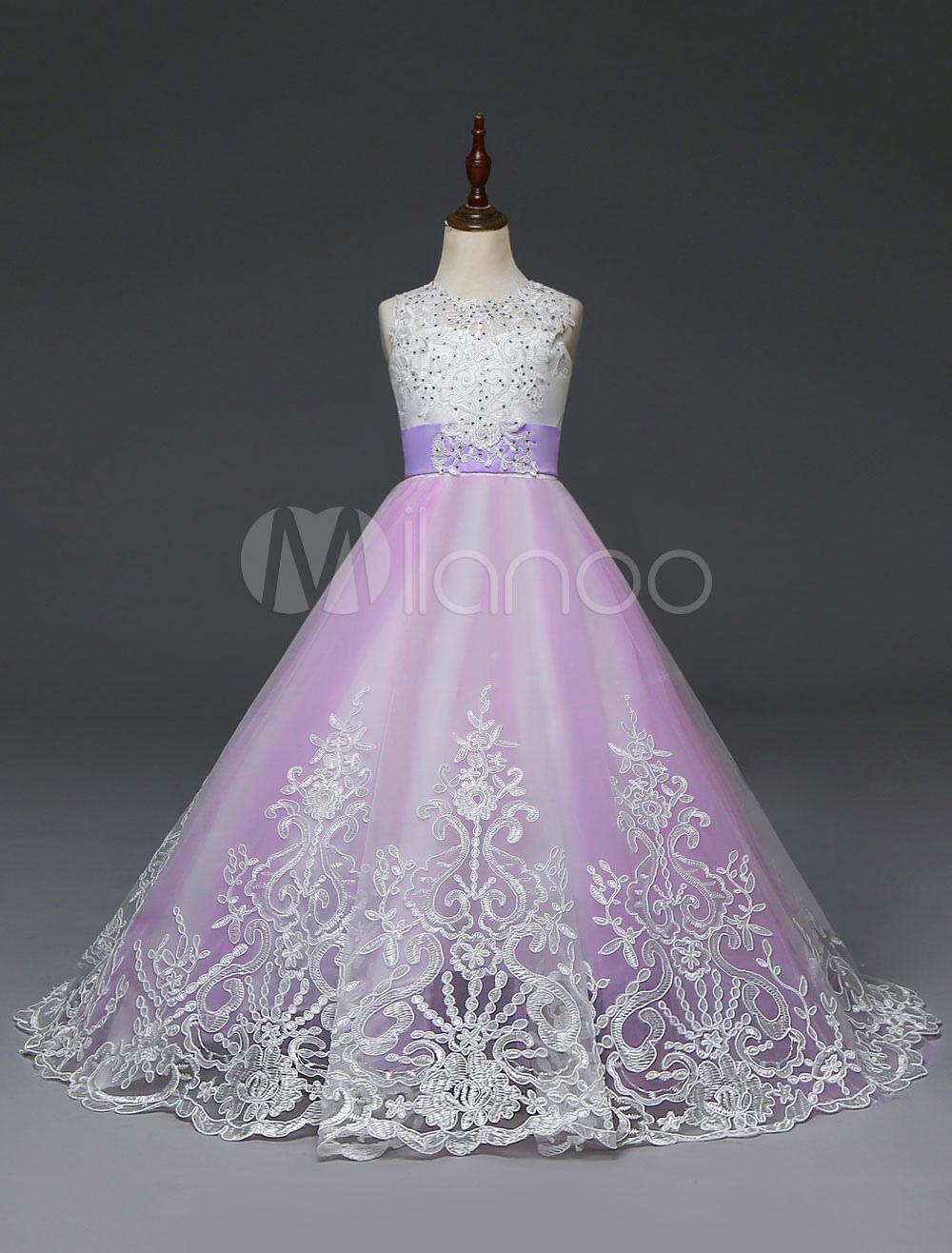 b8bf8591c2f ... Princesse Fleur Fille Robes Enfants Dentelle Lilas Perles Perles Arcs Filles  Robe De Fête Avec Train ...