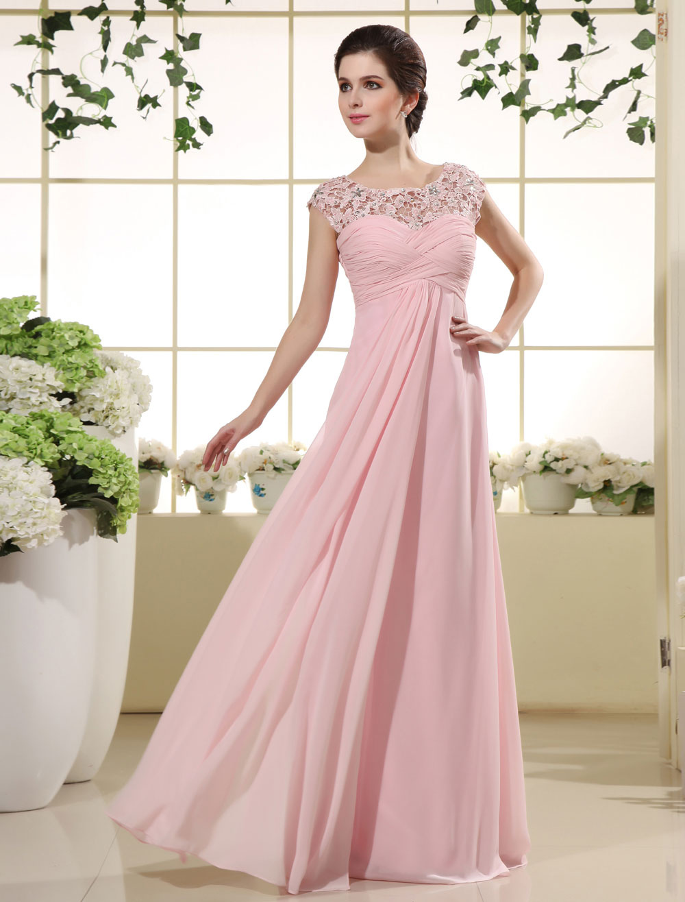Pink Prom Dresses 2020 Long Lace Illusion Chiffon Evening Dress Ruched Beading Floor Length Party Dress Wedding Guest Dress Milanoo Wedding Guest